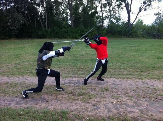 Schwertkampftraining auf der Donauinsel für die OÖ Landesmeisterschaften in Waxenberg 2013