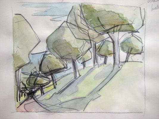 Bodenseelandschaften, Bleistift und Aquarell auf Papier