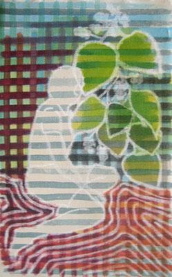 Figur und Maulbeerzweig, Kreide und Aquarell auf Malkarton
