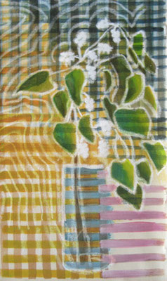 Maulbeerzweig in Vase, Kreide und Aquarell auf Malkarton