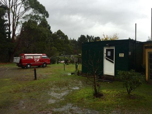 Unser Campingplatz in Zeehan -