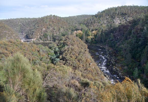 Blick vom Aussichtspunkt auf den Cataract Gorge
