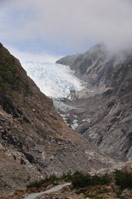 Franz Josef Gletscher - der Nebel lichtet sich.