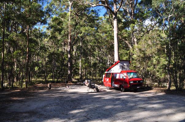 Unser Campingplatz mitten im Wald...