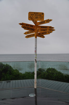Mast mit Hinweisschildern in alle Welt beim Stirling Point in Bluff