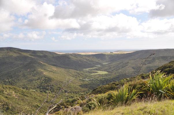"""Aussicht ins Hinterland vom """"Gipfel oberhalb unses Campingplatzes"""