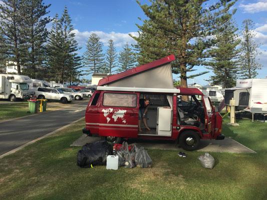 Gold Coast: Ankunft auf unserem ersten Campingplatz in Australien.