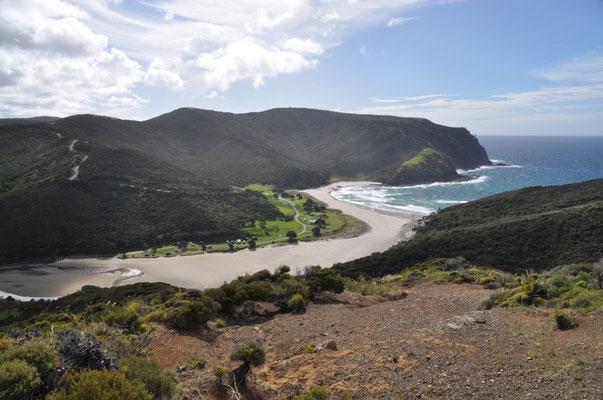 Aussicht auf die Spirits Bay und Campingplatz