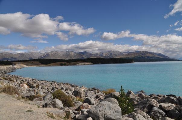 Blick vom Südufer des Lake Pukaki (auch hier blieb der Mount Cook verborgen).