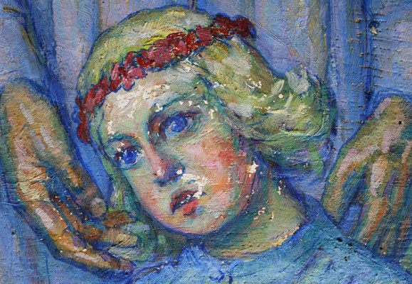 """Detail Vorzustand, Gemälde """"Christus und die Apostel"""" von Karl Hänsel (1920), ev. Kirche Erdmannrode"""