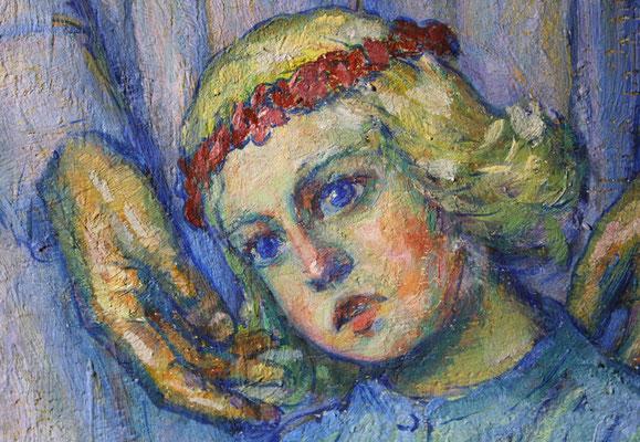 """Detail nach der Restaurierung, Gemälde """"Christus und die Apostel"""" von Karl Hänsel (1920), ev. Kirche Erdmannrode"""