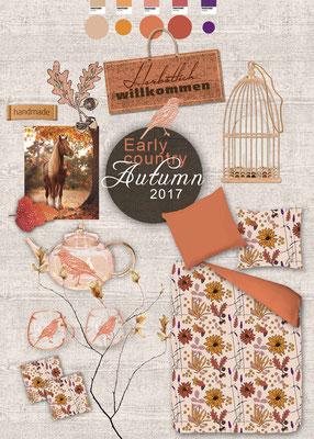 Produktdesign, Farbkonzept, Musterdesign, Allover, Rapport, Bildbearbeitung, Retusche, Mood board (2016) vorgestellt, Handelsunternehmen (Textilbekleidung)