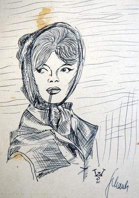 Brigit Bardot - Kugelschreiberzeichnung