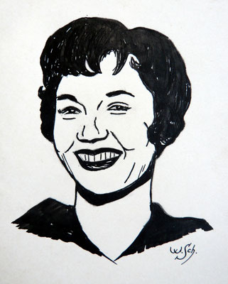 Liselotte Pulver- Tuschezeichnung