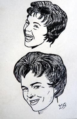 Conny Froboess- Tuschezeichnung