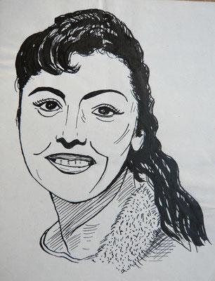 Caterina Valenta - Tuschezeichnung