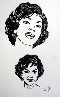 Gina Lollogrigida - Tuschezeichnung