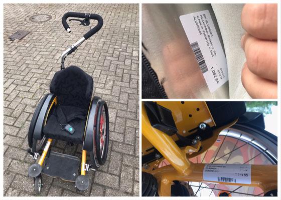 """Rollstuhl """"Mio"""" von Sorg. Die Kasse hat die Kosten nach Widerspruchsverfahren vollständig übernommen. Die Zuzahlung im nächsten Bild fiel nur für den bunten Speichenschutz an. Kassenleistung wäre hier ein durchsichtiges Element. Nutzungsdauer ca. 3 Jahre."""