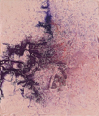 2014, 53.0 x 45.5, 8月26日 (August 26), Acrylic, ink, plaster and rain on canvas