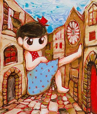 2011, 53.0 x 45.6 cm, 街並み (Street), Acrylic on canvas