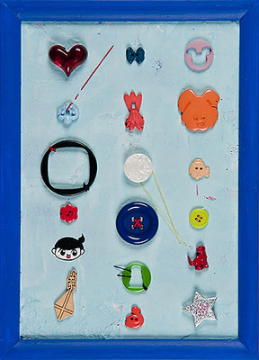 2008, 28.0 x 20.1 cm, 無題 (Untitled), Acrylic, plaster, thread and plastic objects on canvas