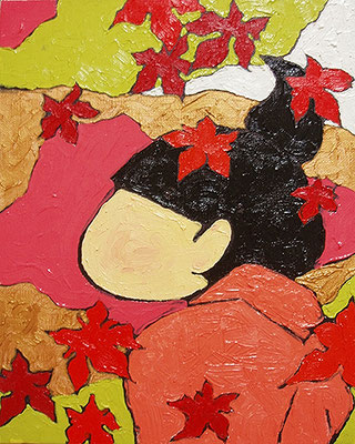 2005, 27.5 x 22.0 cm, 紅葉 (Red leaves), Oil on canvas