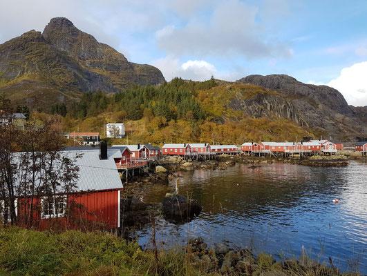 Lofoten - rote Fischerhütten am Wasser in Nusfjord