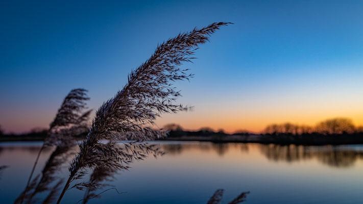 Abendstimmung am breiten Wasser an der Hamme