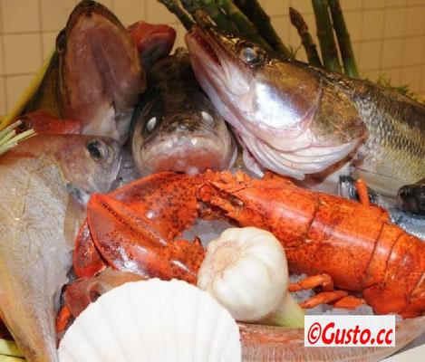 frische Fische und Meeresfrüchte