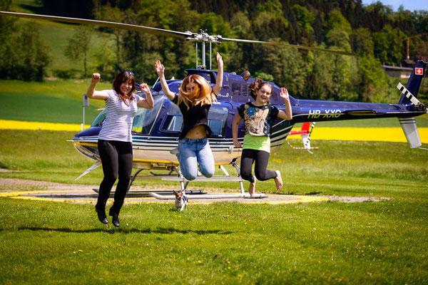Vorfreude bei Helikopterflug