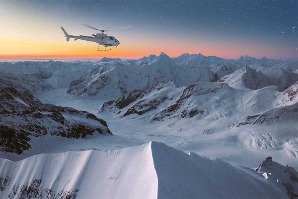 Sonnenaufgang Rundflug Jungfraujoch