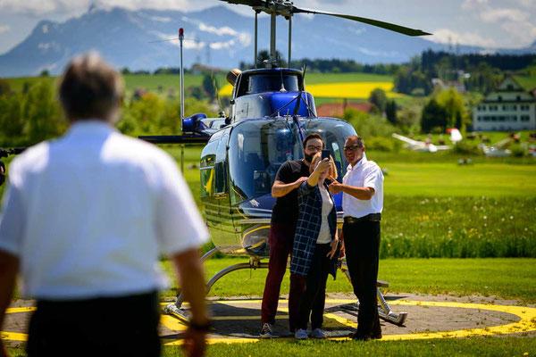 Selfie nach dem Helikopterflug