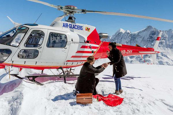 Heiratsantrag mit dem Helikopter