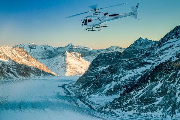 Aletschgletscher bei einem Helikopterrundflug