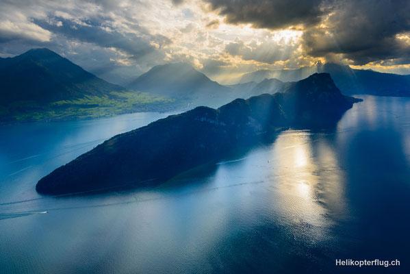 Bürgenstock / Zentralschweiz bei einem Helikopterflug