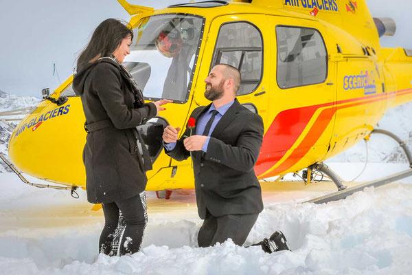 Hochzeitsantrag auf dem Gletscher