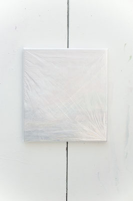 zind plast, 2017, Öl- und Acrylfarbe auf Leinwand unter 36 Schichten Verpackung, 55 x 50 cm