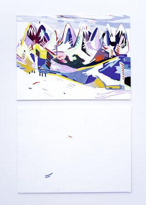 kain und aber, 2017, Öl- und Acrylfarbe auf Leinwand, 250 x 160 cm (oil and acrylic on canvas, 98 1/2 x 63 in.)