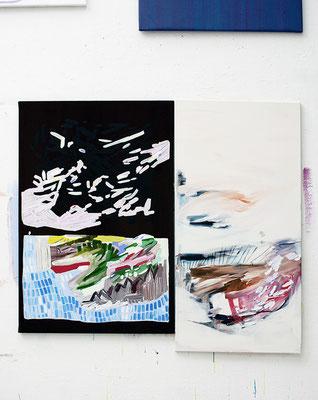 isla isla, 2017, Öl- und Acrylfarbe auf Leinwand, 120 x 80 cm   130 x 65 cm (oil and acrylic on canvas, 47 1/4 x 31 1/2 in. + 51 x 25 2/6 in.)