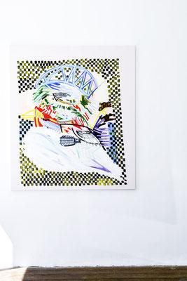 hali bird, 2019, Öl- und Acrylfarbe auf Leinwand, 165 x 135 cm (oil and acrylic on canvas, 65 x 53 in.)