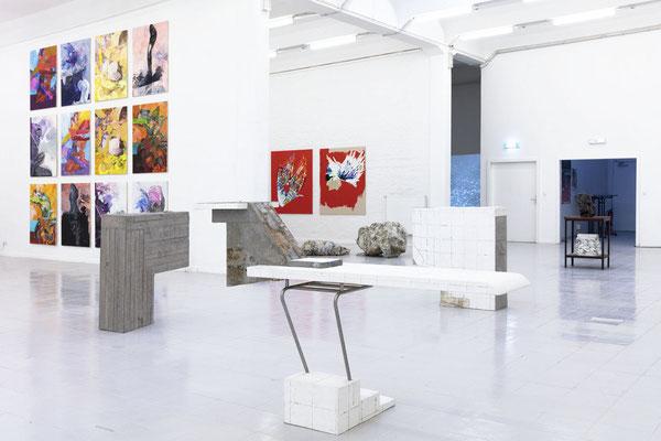 Ansicht auf Arbeiten von Franz Rentsch, Julia Eichler und Susanne Henny Kolp; Foto: Gustav Franz