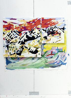 bergmann, 2017, Ölfarbe auf Leinwand, 95 x 150 cm - Privatbesitz (oil on canvas, 37 1/3 x 59 in., private property)