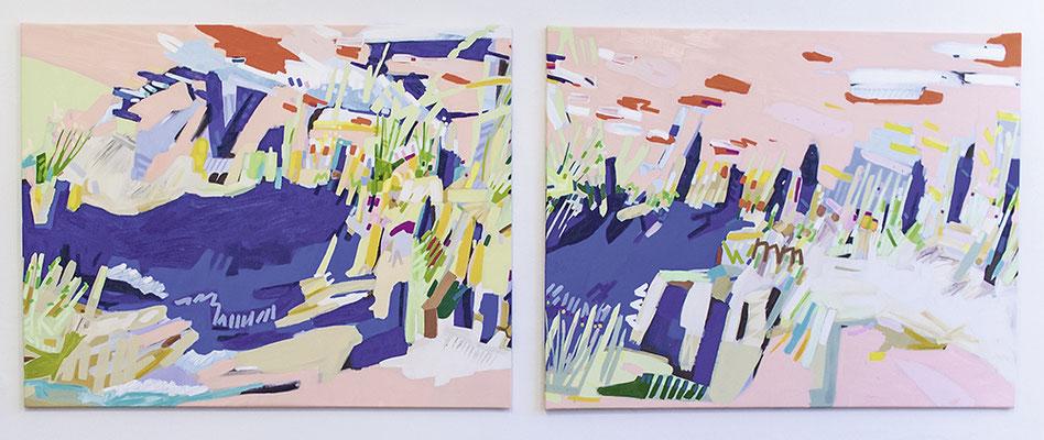 lind, 2018, Öl- und Acrylfarbe auf Leinwand, 125 x 330 cm (oil and acrylic on canvas, 49 1/4 x 130 in.)
