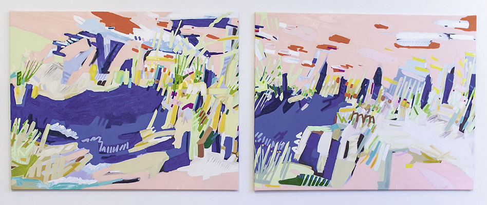 lind, 2018, Öl- und Acrylfarbe auf Leinwand, 125 x 330 cm, verkauft (oil and acrylic on canvas, 49 1/4 x 130 in., sold)