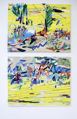 meine heimat, das sind eigentlich nur rapsfelder, 2017, Ölfarbe auf Leinwand, 230 x 140 cm