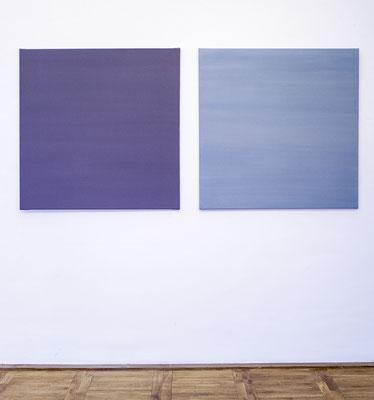 grau des jahres ´16 + ´17, Pigmentsammlung auf Leinwand, je 110 x 110 cm