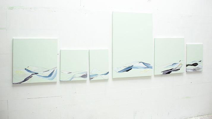 landstrich, 2016, Acryl- und Ölfarbe auf Leinwand, 60 x 60 cm, 44 x 40 cm, 45 x 30 cm, 100 x 70 cm, 60 x 60 cm, 48 x 36 cm