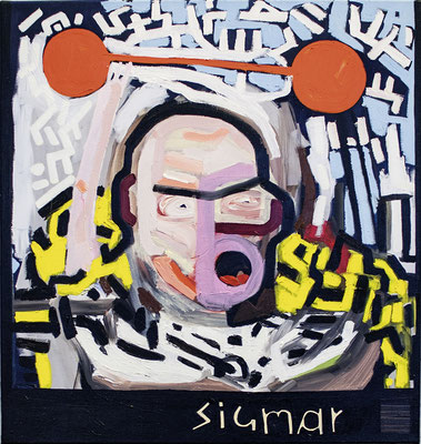 sigmar, 2017, Öl- und Acrylfarbe auf Leinwand, 68 x 65 cm
