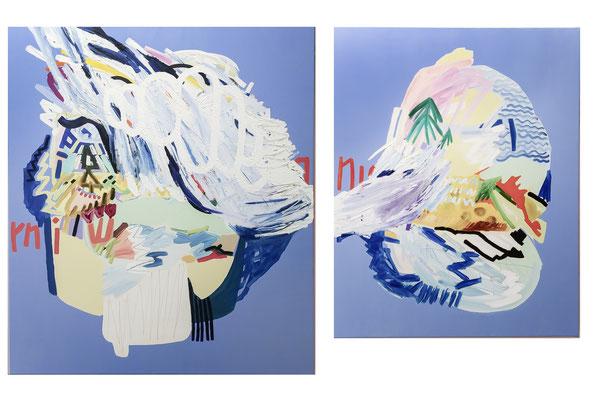 don´t cry for me captain planet, 2019, Ölfarbe auf Leinwand, 130 x 215 cm (oil on canvas, 51 x 84 1/2)