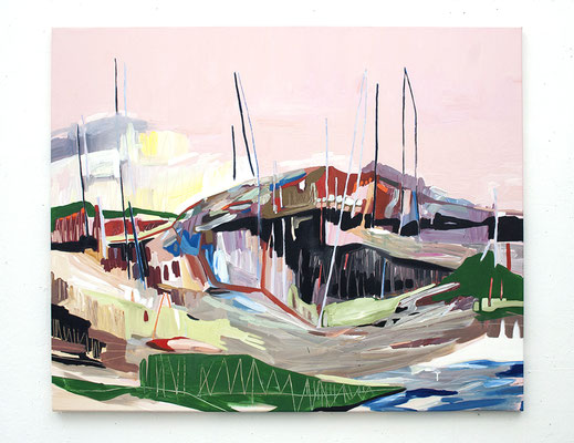 landen | rosa, 2016, Öl- und Acrylfarbe auf Leinwand, 125 x 150 cm, Privatbesitz (oil and acrylic on canvas, 49 x 59 in., private property)